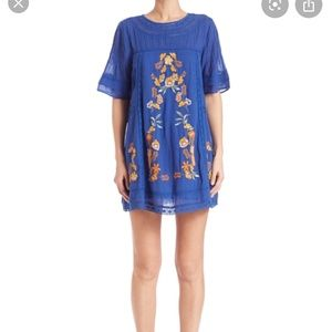 Free People Blue Embroidered Victorian Dress
